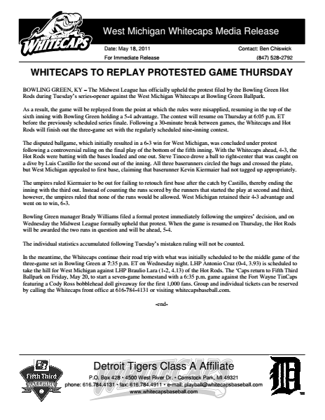 Whitecaps to Replay Protested Game Thursday